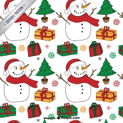 Christmas Pattern with Snowmen Free Vector