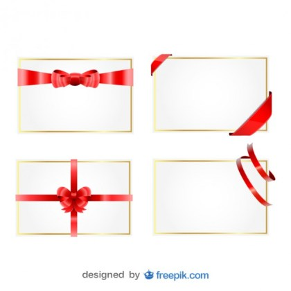 Christmas Ribbon Gift Cards Free Vector