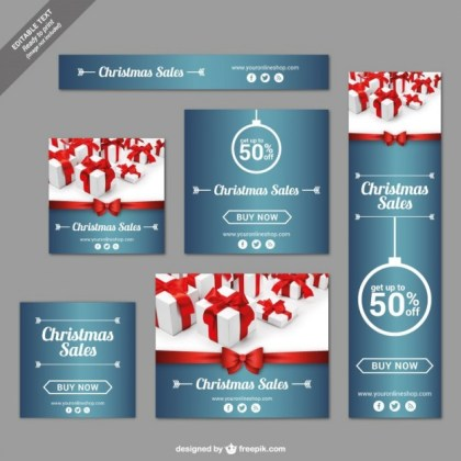 Christmas Sales Banners Free Vector