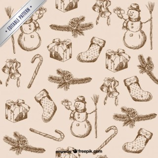 Christmas Scribbles Pattern Free Vector