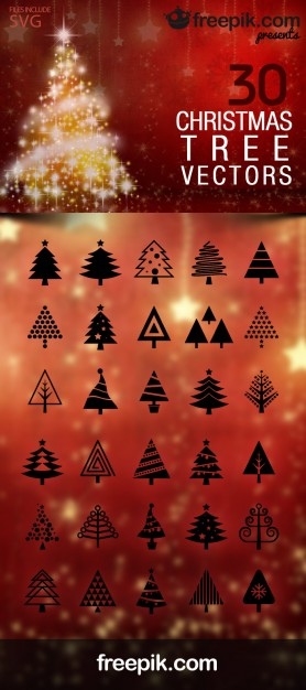 Christmas Tree Icons Pack Free Vector