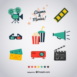 Cinema and Movies Icons Free Vector