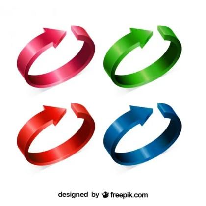 Circular Colored Arrows Set Free Vector