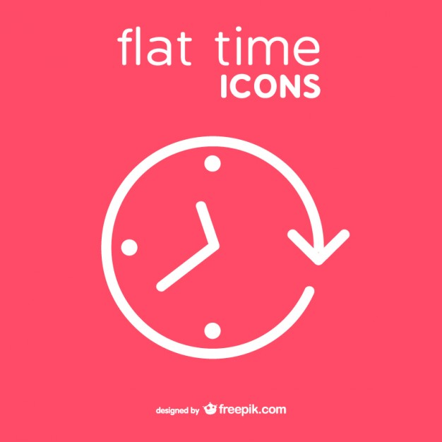 Clock Icon Flat Style Free Vector