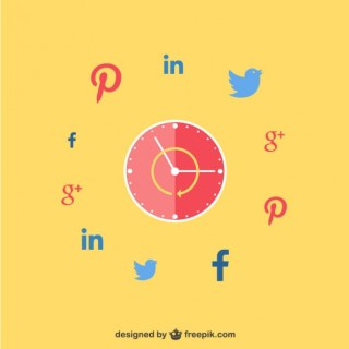 Clock with Social Networks Icons Free Vector