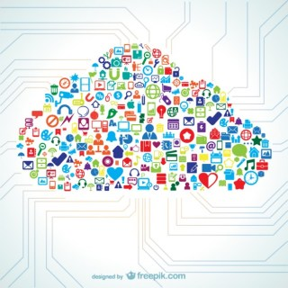 Cloud Shape Filled with Icon Free Vector