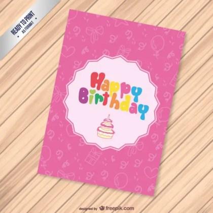Cmyk Birthday Card Free Vector