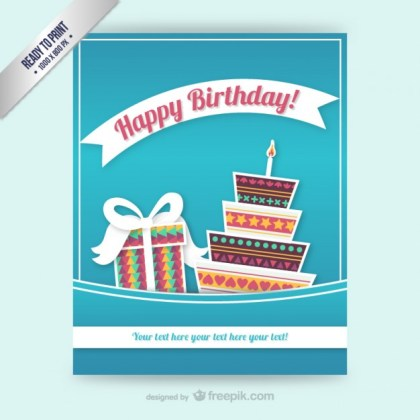 Cmyk Birthday Card Template Free Vector