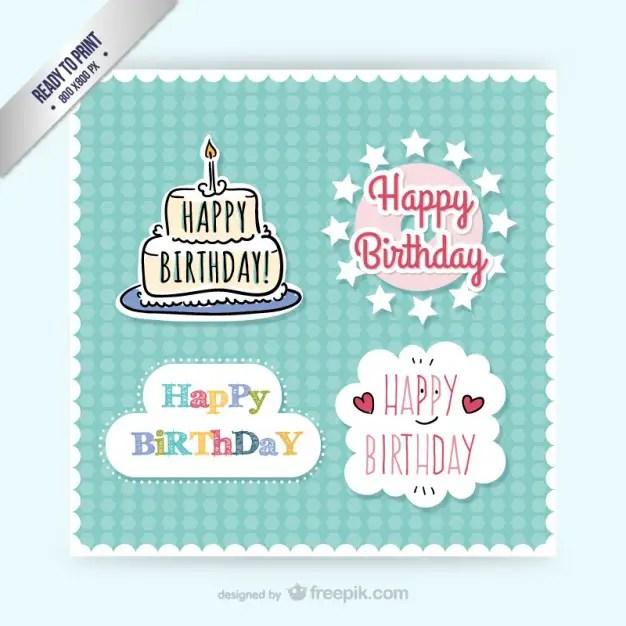 Cmyk Birthday Stickers Free Vector