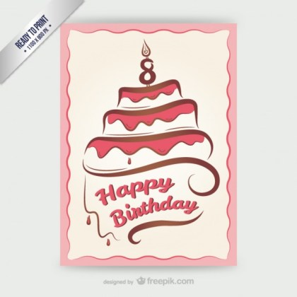 Cmyk Happy Birthday Card with Cake Free Vector