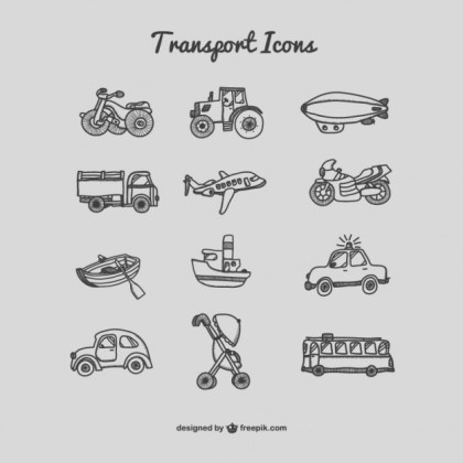 Collection of Drawing Transport Icons Free Vector