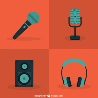 Color Microphone and Audio Icons Free Vector