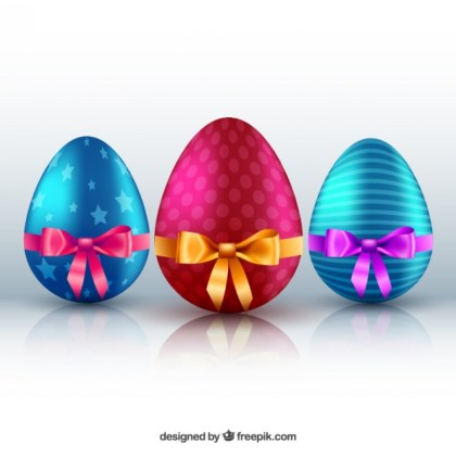 Colorful and Decorated Easter Eggs Free Vector