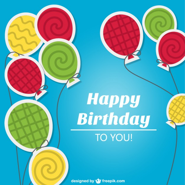 Colorful Birthday Card Free Vector