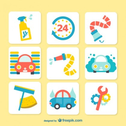 Colorful Car Wash Icons Free Vector
