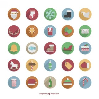 Colorful Christmas Icons Pack Free Vector