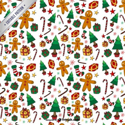 Colorful Christmas Pattern Free Vector
