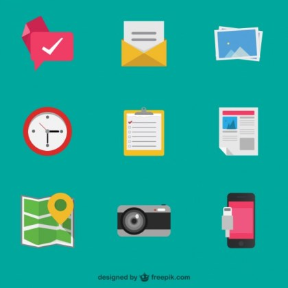 Colorful Detailed Objects Icons Free Vector
