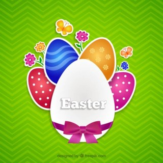 Colorful Easter Eggs Card Free Vector
