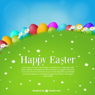 Colorful Easter Eggs in The Meadow Free Vector