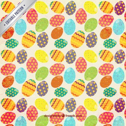 Colorful Easter Eggs Pattern Free Vector