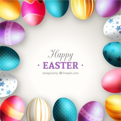 Colorful Eggs Card for Easter Free Vector