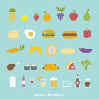 Colorful Food Icons Free Vector