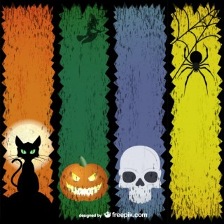 Colorful Halloween Banners Free Vector