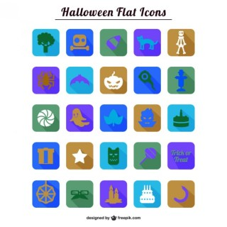 Colorful Halloween Flat Icons Collection Free Vector
