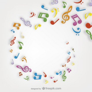 Colorful Musical Notes Swirl Free Vector