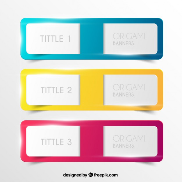 Colorful Origami Banners Free Vector