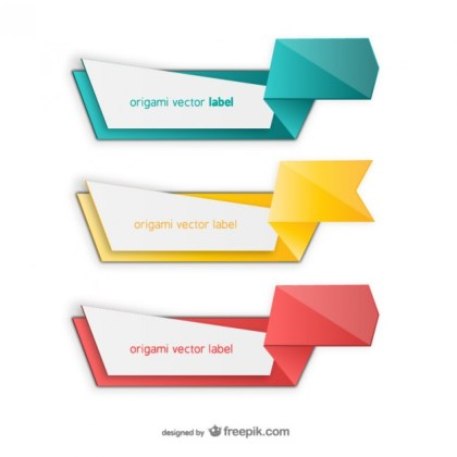 Colorful Origami Label Pack Free Vector