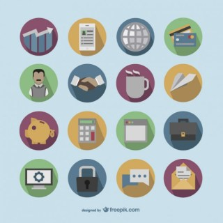 Colorful Round Business Icons Free Vector