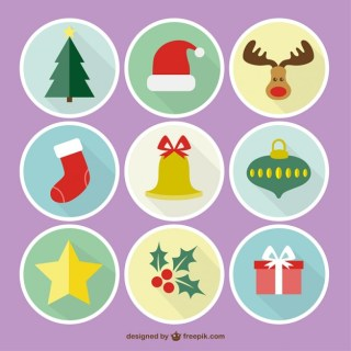 Colorful Round Christmas Icons Free Vector