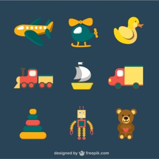 Colorful Toy Icons Free Vector