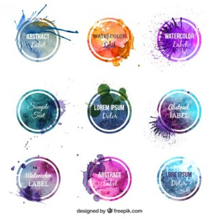Colorful Watercolor Labels Free Vector