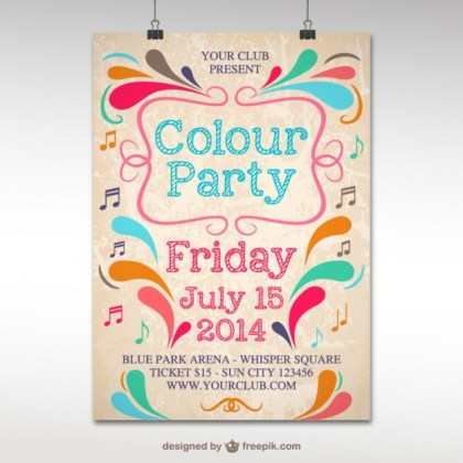 Colour Party Template Free Vector