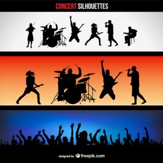 Concert Silhouettes Banners Free Vector