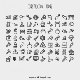 Construction Cartoon Icons Collection Free Vector