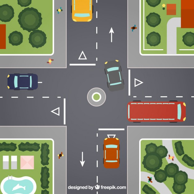 Crossroads in The Town Free Vector