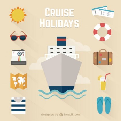 Cruise Holidays Icons Free Vector
