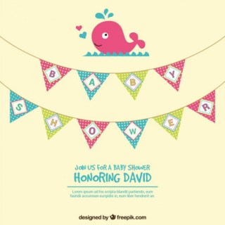Cute Baby Shower Invitation Card Free Vector