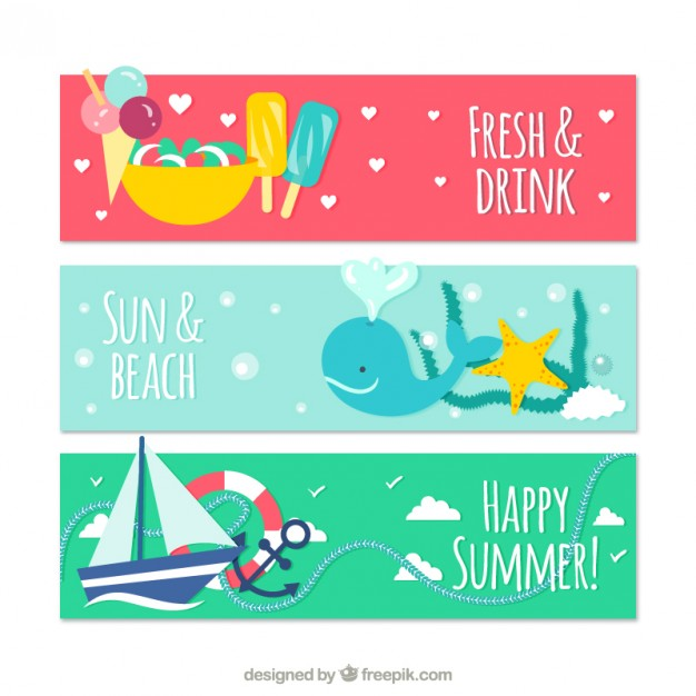 Cute Banners for Summer Free Vector
