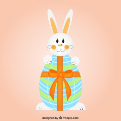 Cute Bunny and Easter Egg with Ribbon Free Vector