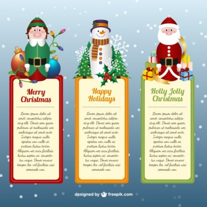 Cute Christmas Banner Templates Free Vector