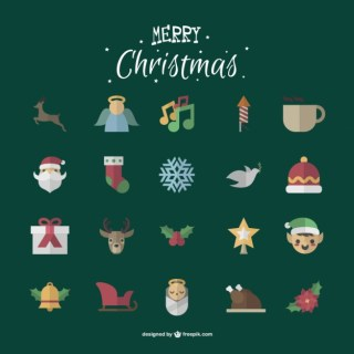 Cute Christmas Icons Pack Free Vector