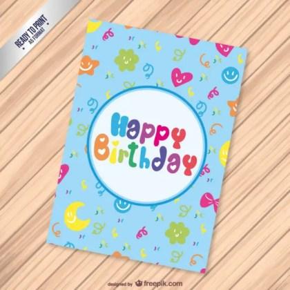 Cute Cmyk Birthday Card Free Vector