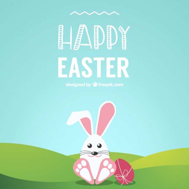 Cute Easter Bunny on The Grass Free Vector
