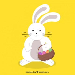 Cute Easter Bunny with a Basket Free Vector