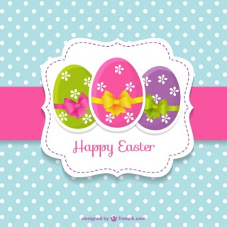 Cute Easter Card with Easter Eggs Free Vector
